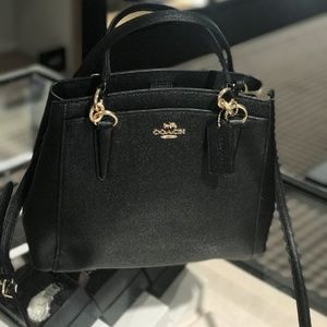 Coach Minnetta Leather Crossbody Bag in Black